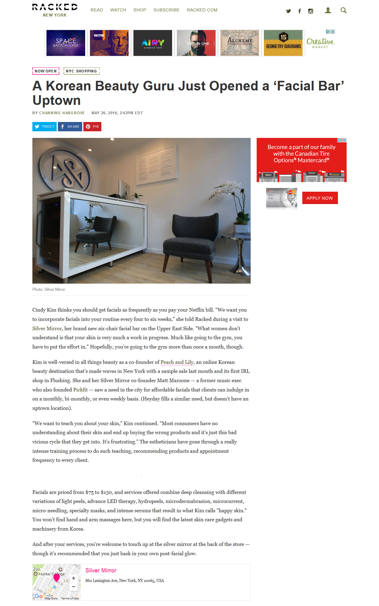 Racked Silver Mirror NYC Article